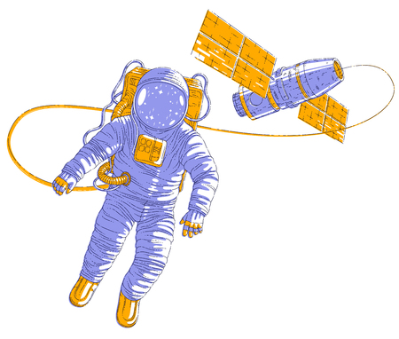 Spaceman flying in open space connected to space station, astronaut man or woman in spacesuit floating in weightlessness and spacecraft behind him. Vector illustration isolated over white. Illustration