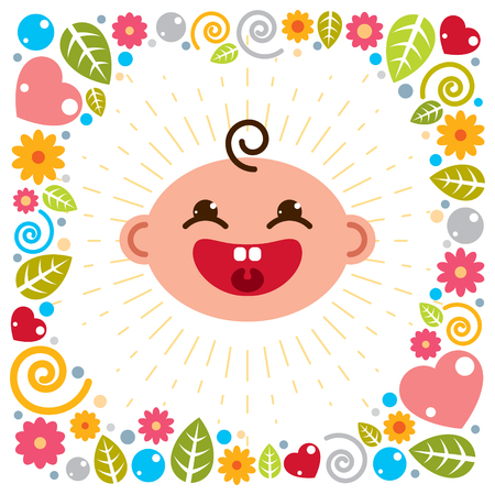 Cute baby cartoon vector flat icon, adorable happy and smiling child emoji. With nice childish frame of flowers, hearts and leaves.