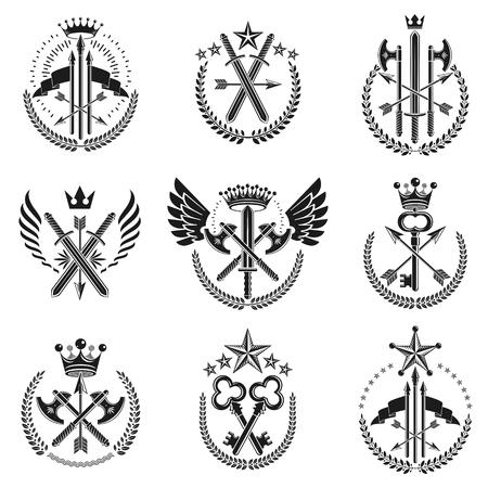 Ensemble d'emblèmes d'armes vintage. Collection d'éléments de design vectoriel vintage. Étiquette de style rétro, héraldique.