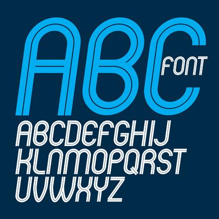 Conjunto de letras del alfabeto inglés delicadas redondeadas en mayúsculas vectoriales hechas con líneas blancas, se puede utilizar para la creación de logotipos en negocios de relaciones públicas