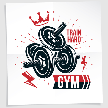 Bodybuilding championship vector advertising leaflet created with disc weight dumbbell and royal crown. Train hard lettering.
