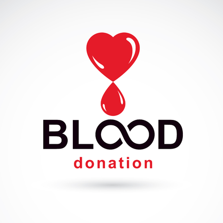 Blood donation inscription made with heart shape and blood drops. Healthy lifestyle conceptual symbol.