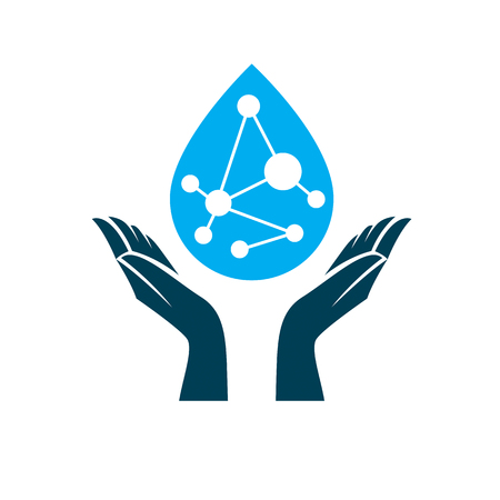 Caring hands hold a model of molecule placed in a water drop. Biomedical engineering conceptual emblem for use in physics and as chemical research or medical logo. Illustration