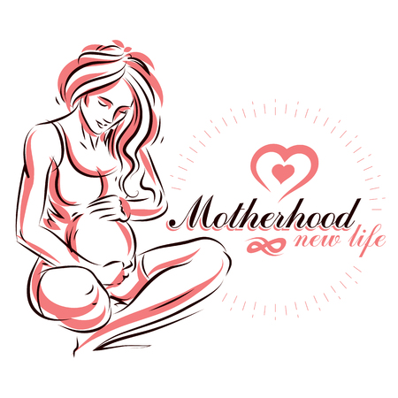 Vector hand-drawn illustration of pregnant elegant woman expecting baby, sketch. Mothers day conceptual poster