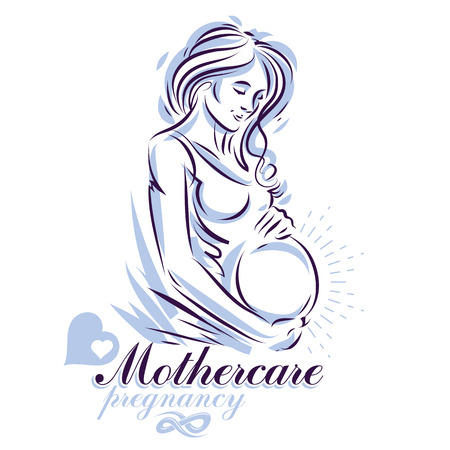 Pregnant female body shape hand drawn vector illustration, beautiful lady gently touching her belly. Mother Day conceptual flyer Ilustração
