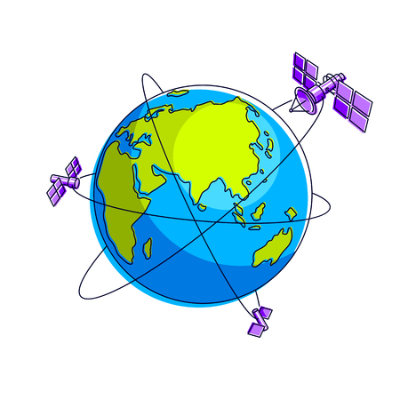 Global communication technology satellites flying orbital spaceflight around earth, spacecraft space stations with solar panels and satellite antenna plate. Thin line 3d vector illustration. Иллюстрация