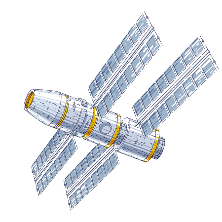 Space station iss floating in weightlessness in open space, spacecraft artificial satellite, science and technology. Thin line 3d vector illustration isolated on white background. Illustration