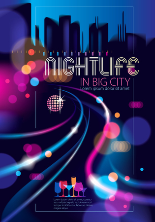 Abstract urban night light bokeh defocused background. Effect vector beautiful background. Blur colorful dark background with cityscape, buildings silhouettes skyline. Brochure, flyer, cover, poster or guidebook template.