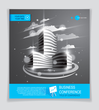 Office building brochure, modern architecture vector flyer with blurred lights and glares effect. Real estate business center grey design. 3D futuristic facade business conference print template. Illustration