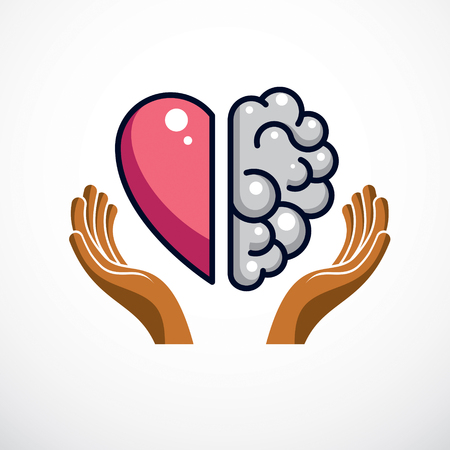 Heart and Brain concept, conflict between emotions and rational thinking, teamwork and balance between soul and intelligence. Vector logo or icon design. Vettoriali