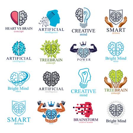 Icone di vettore di cervello e intelligenza o concetti di loghi impostati. Intelligenza Artificiale, Mente Luminosa, Brain Training, Sentimenti anima contro pensiero razionale, Creatività, Brainstorming, Salute mentale.