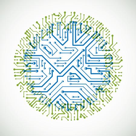 Ilustración colorida de la placa de circuito de computadora abstracta de vector, elemento de tecnología redondo verde y azul con conexiones. Diseño web temático de electrónica. Ilustración de vector