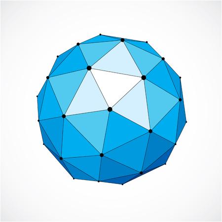 Objet low poly abstract vector avec lignes noires et points connectés. Forme futuriste d'origami 3d bleu avec des lignes noires qui se chevauchent. Vecteurs