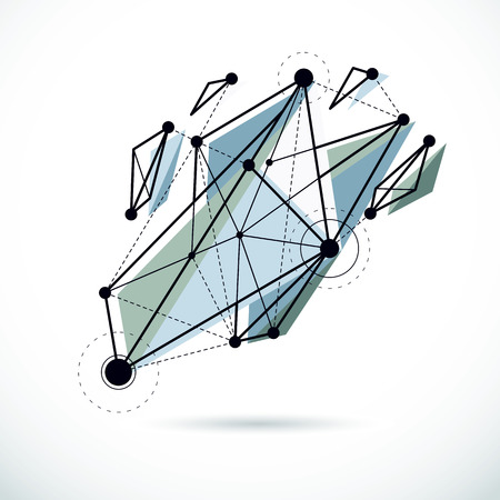 Tech abstract shape, vector polygonal figure. Communication technologies modern illustration.