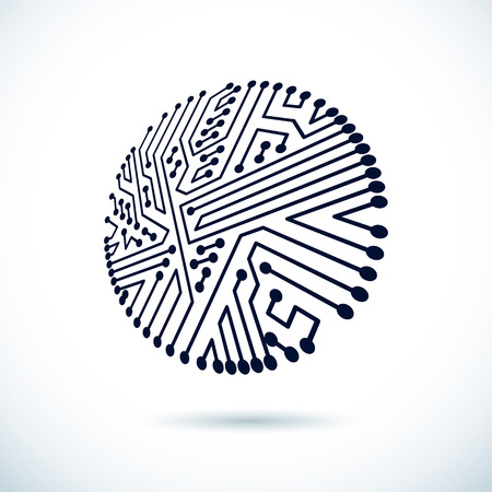 Vector abstract computer circuit board illustration, circular technology element with connections. Electronics theme web design. Ilustração