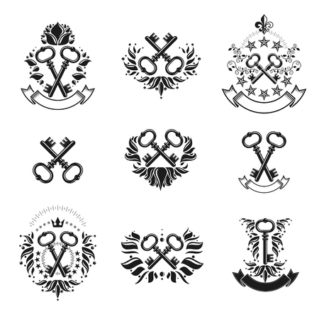 Ancient Keys emblems set. Heraldic Coat of Arms decorative logos isolated vector illustrations collection.