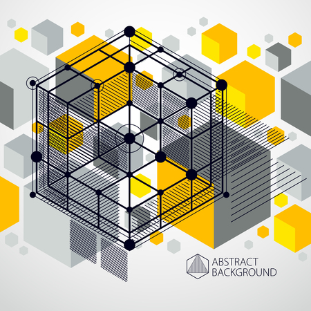 Vector abstract yellow background created in isometric mesh lines style. Mechanical scheme, vector engineering drawing with cube and mechanism parts. Perfect background for your design projects Çizim