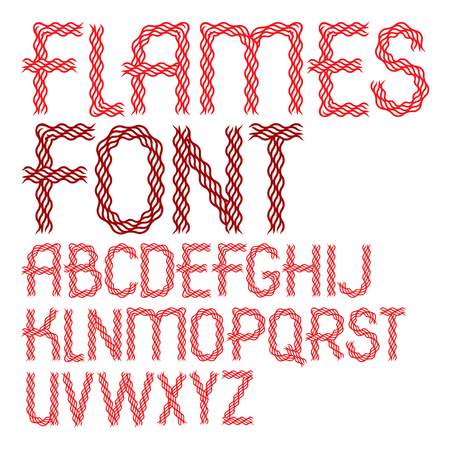 Set of vector capital alphabet letters isolated made with hot flaming design.