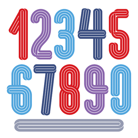 Vector funky tall numerals collection made with parallel stripes, for use in logo design for nightclub advertising.