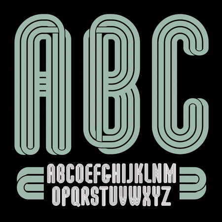 Set of tall vector upper case funky English alphabet letters isolated, best for use in logotype design for carnival announcement Illustration