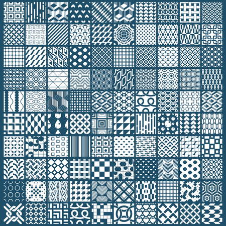 Vector graphic vintage textures created with squares, rhombuses and other geometric shapes. Monochrome seamless patterns collection best for use in textiles design.