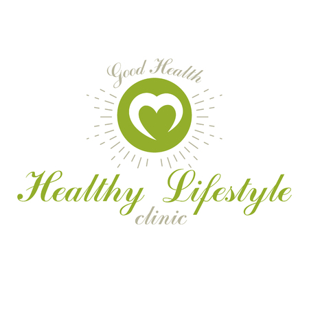 Vector loving heart decorated with green leaves. Wellness center abstract modern logotype can be used in medical and social theme advertisement. Strong heart is good health.