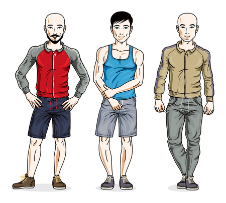 Handsome young men group standing wearing stylish sport clothes. Vector different people characters set. Illustration
