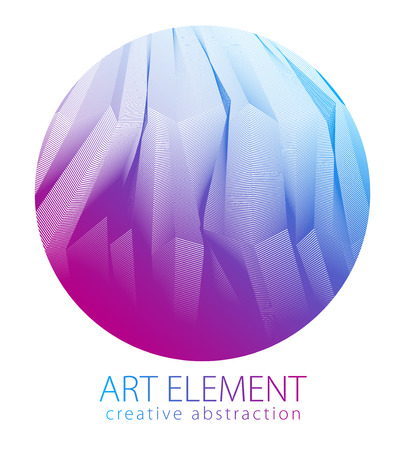 Perfect art and design element of  great lines surface texture in a shape of circle. Vector abstract 3d perspective background for layouts, posters, banners, print and web. Cool and motional.  イラスト・ベクター素材