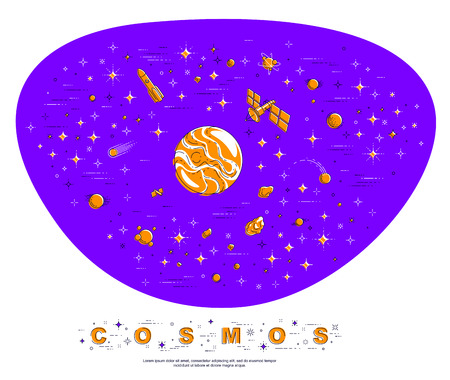 Fantastic undiscovered galaxy with unknown planets, science fiction, with stars, comets, asteroids and other elements. Explore universe, breathtaking space science. Thin line 3d vector illustration. 向量圖像