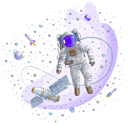 Spaceman flying in open space connected to space station, astronaut man or woman floating in cosmos and iss spacecraft surrounded by rockets, stars and other elements. Vector illustration isolated. Illustration