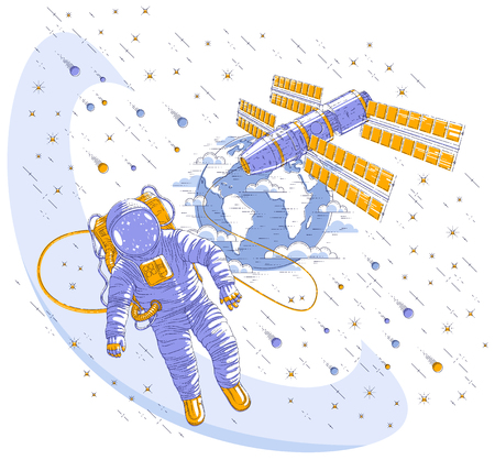 Astronaut flying in open space connected to space station and earth planet in background, spaceman in spacesuit floating in weightlessness and iss spacecraft, stars and other elements. Vector isolated.