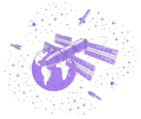 Space station orbiting around earth, spaceflight, spacecraft spaceship iss with solar panels, artificial satellite, with rockets, stars and other elements. Thin line 3d vector illustration.
