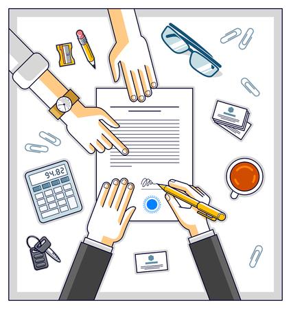 Zakenman ondertekent contract papieren document of bankklant schrijft een teken op financiële vorm van geldkrediet en werknemer helpt hem en legt de voorwaarden van de lening uit, bovenaanzicht van mensenhanden. Vector.