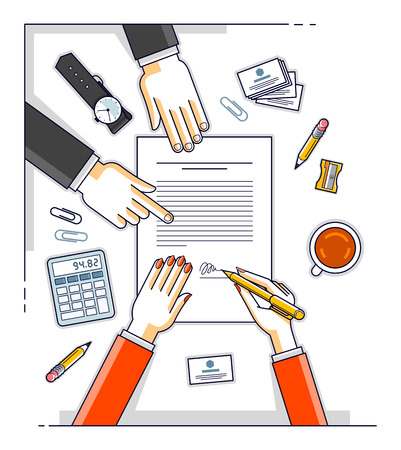 Business woman signs contract paper document or bank customer write a sign on financial form of money credit and employee helps her and explains the terms of loan, top view of people hands. Vector.