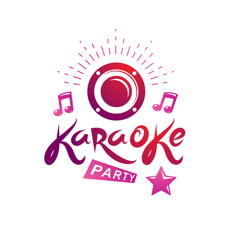Karaoke party vector writing composed with musical notes and star, leisure and relaxation lifestyle emblem for nightclub party invitation poster. Stock Illustratie