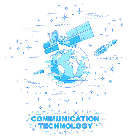 Communication satellite flying orbital spaceflight around earth, spacecraft space station with solar panels and satellite antenna plate, with rockets, stars and other elements. Vector. Vektorgrafik