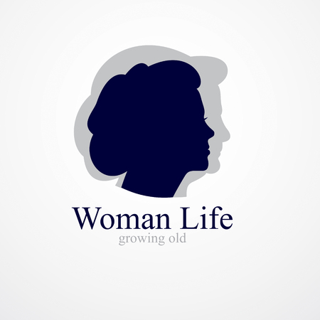 Woman getting old age years conceptual illustration, from woman to grandma, aging period and cycle of life. Vector simple classic concept icon or logo design. Illustration