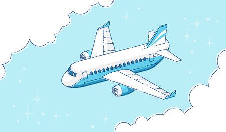 Plane passenger airliner flying in the sky surrounded by clouds, beautiful thin line 3d vector illustration.