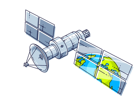 Artificial orbital satellite floating in weightlessness and reflecting earth in solar panels like in the mirror, science and communication technology. Thin line 3d vector illustration.