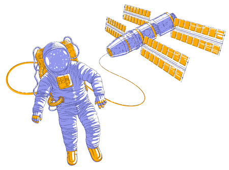 Astronaut flying in open space connected to space station, spaceman in spacesuit floating in weightlessness and spacecraft with solar panels behind him. Vector illustration isolated over white. 向量圖像