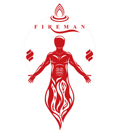 Vector illustration of human, athlete. Prometheus concept.