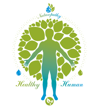 Vector illustration of human, athlete surrounded by green tree leaves. Wellness and harmony metaphor. Imagens - 103232165