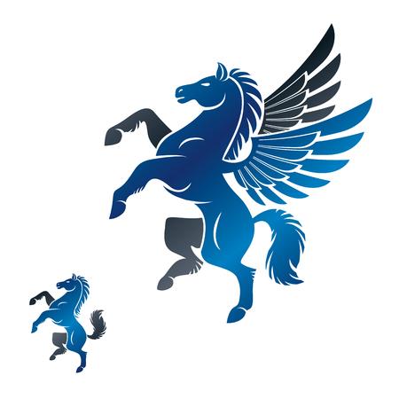 Ensemble d'éléments d'emblèmes antiques Pegasus et Cheval ailés. Collection d'éléments de conception de vecteur héraldique. Étiquette de style rétro, logo héraldique. Banque d'images - 103232487
