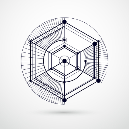 Abstract vector geometric isometric black and white background. Mechanical scheme, vector engineering drawing with cube and geometric mechanism parts. Illustration