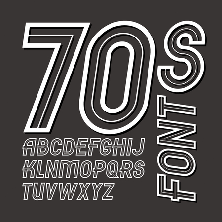 Vector retro 70s capital alphabet letters collection, can be used as logo design elements Illusztráció