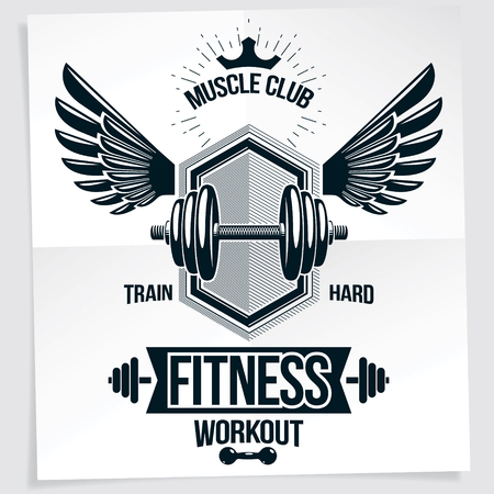 Weight-lifting championship vector promotion flyer created with disc weight dumbbell, bird wings and royal crown. Train hard lettering.
