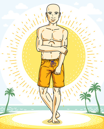Handsome bald man standing on tropical beach and wearing beachwear shorts. Vector human illustration. Summer vacation theme. Ilustração