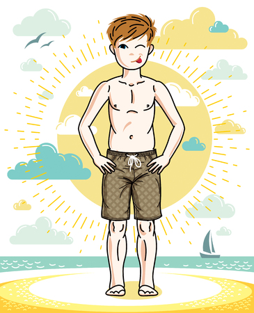 Little boy standing in colorful stylish beach shorts. Vector human illustration. Fashion theme clipart.
