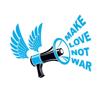 Vector advertising flyer created with loudspeaker equipment and make love not war lettering. Propaganda as the means of influence on public opinion .