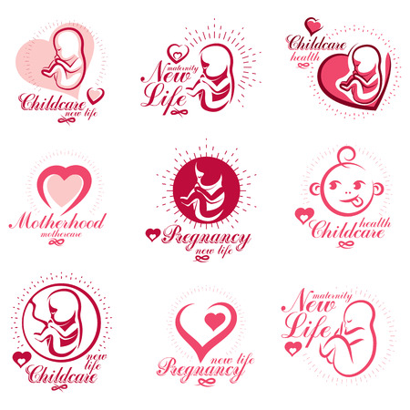 Vector embryo and newborn emblems set isolated on white. New life beginning drawings. Maternity ward abstract emblems Vettoriali